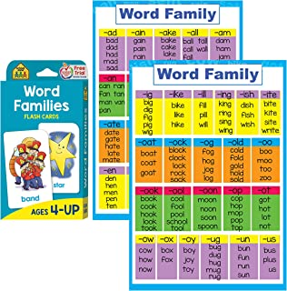 Word Families Poster and Flash Cards Set - Reading Flashcards and Posters to Learn Phonics for Kindergarten and Preschool , Word Family Blend , Rhyming Words , Beginning and Ending Sounds Rhymes