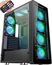 MUSETEX 8 PCS RGB Fans ATX Mid-Tower Case with 2 × USB 3.0, Computer PC Gaming Case with Remote Control, Tempered Glass Co...