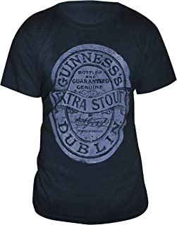 Guinness Extra Stout Label Vintage Black T-Shirt - Cotton Graphic Short Sleeve Tee