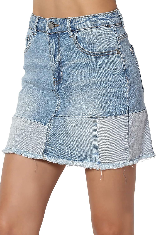 TheMogan Vintage Washed Jean Slim Straight Cut Mini Stretch Soft Denim Skirt