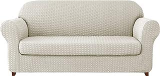 Subrtex - Funda de sofá de 2 piezas Jacquard con reposabrazos elásticos, funda de sillón extensible y protección, tela, blanco, 2 plazas