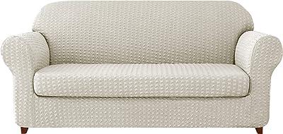 Subrtex - Funda de sofá con reposabrazos, elástica estampada, funda de sofá extensible, 2 plazas, color crema