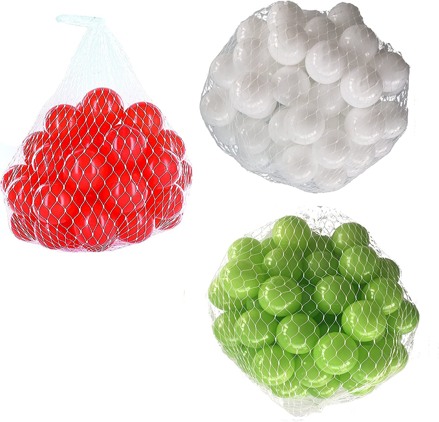 Balls For Ball Pool Mix Set with Light Green, White and Red