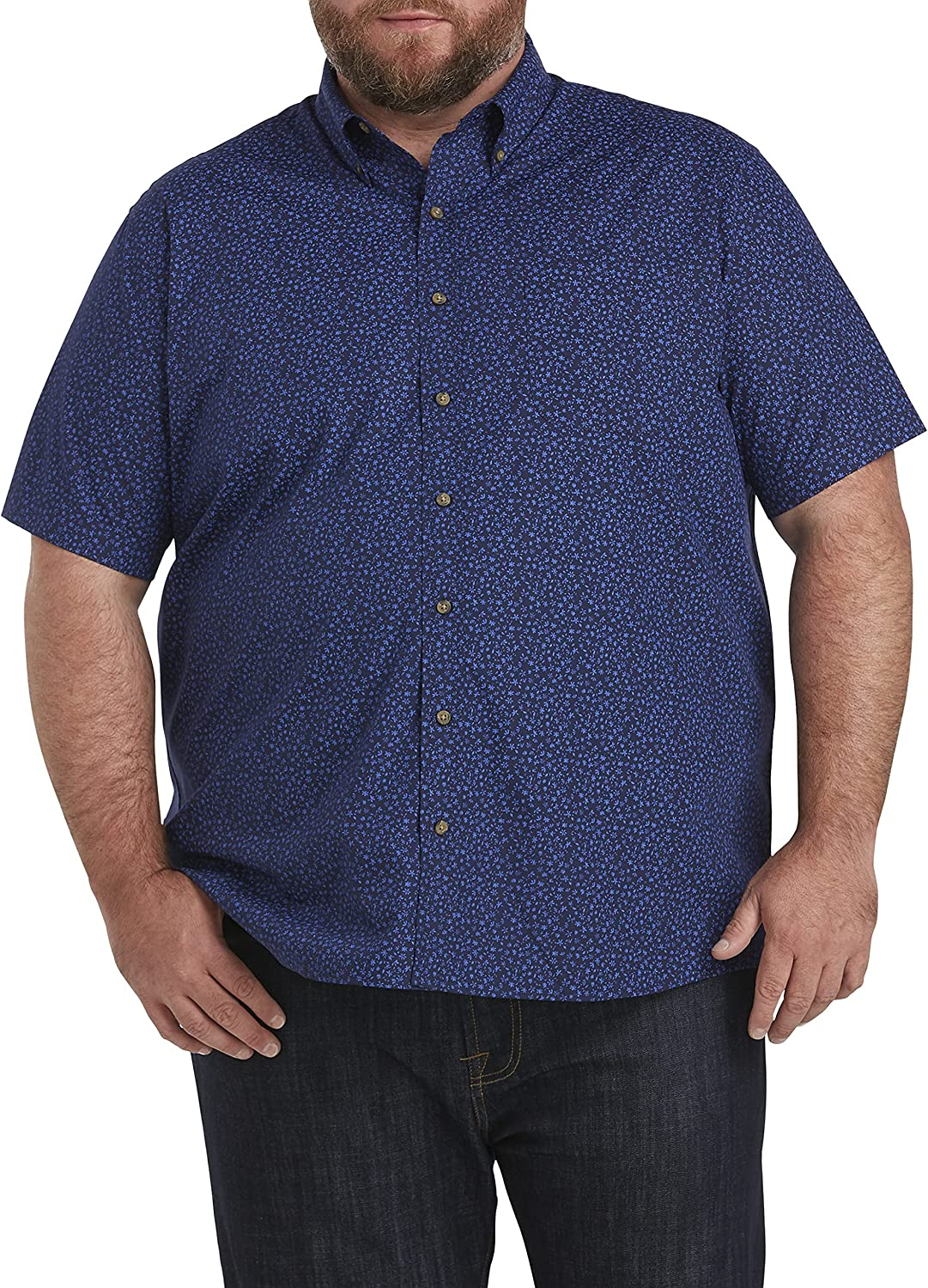 Harbor Bay by DXL Big and Tall Easy-Care Floral Print Sport Shirt