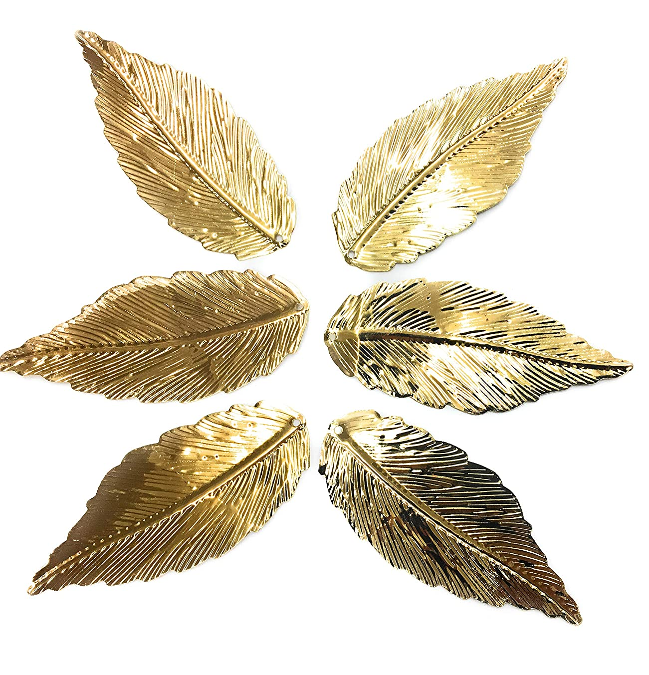 6 Metal Gold Leaf Findings Charms Pendant 2-3/4'' x 1-1/8