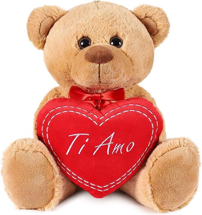 Peluche orsacchiotto con scritta ti amo su un cuore di peluche - 35 cm di altezza -brubaker B089KR7T2R