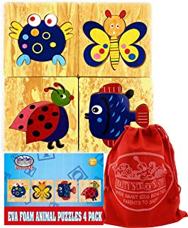 Matty's Toy Stop Deluxe EVA Foam Animal Puzzles Featuring Ladybug, Fish, Crab & Butterfly with Storage Bag - 4 Pack