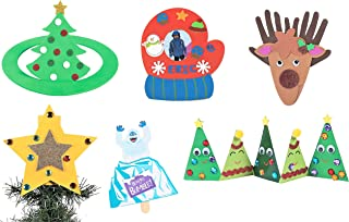 Christmas Holidays Craft Kits Set - Six (6) Kits - Handprint Reindeer, Christmas Tree Stand-Up, Mitten Picture Frame, Tree Topper & More! - 7