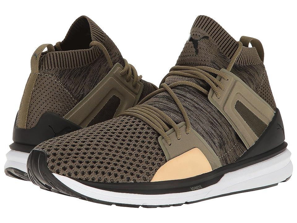 PUMA B.O.G Limitless Hi Evoknit (Burnt Olive/Puma Black/Puma White) Men's Shoes, Brown
