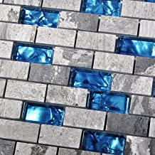 TST MOSAIC TILES 1 Sample 3'' x 6'' : Ocean Blue Glass Nature Stone Tile Kitchen Backsplash 3D Bath Shower Accent Wall Decor Gray Wave Marble 1 x 2 Subway Art Mosaics TSTNB03 (1 Sample [3'' x 6''])