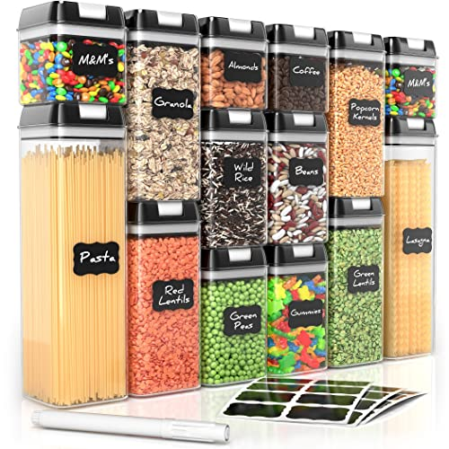 Airtight Food Storage Containers for Pantry Organization and Storage by Simply Gourmet. 14-Piece Set + 32 FREE Chalkboard Labels & Marker. Air Tight Containers for Food - Perfect for Kitchen Storage