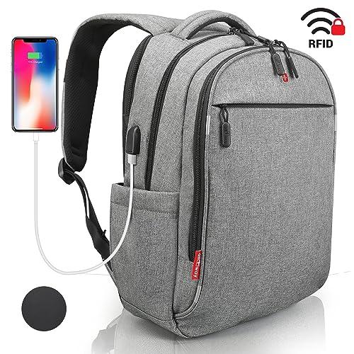 Laptop Rucksack Herren Damen Grau - RFID Schutz Anti Theft Backpack - SWISS Design Rucksack wasserdicht Regenschutz - USB Rucksack für Business Schule Freizeit 15 zoll