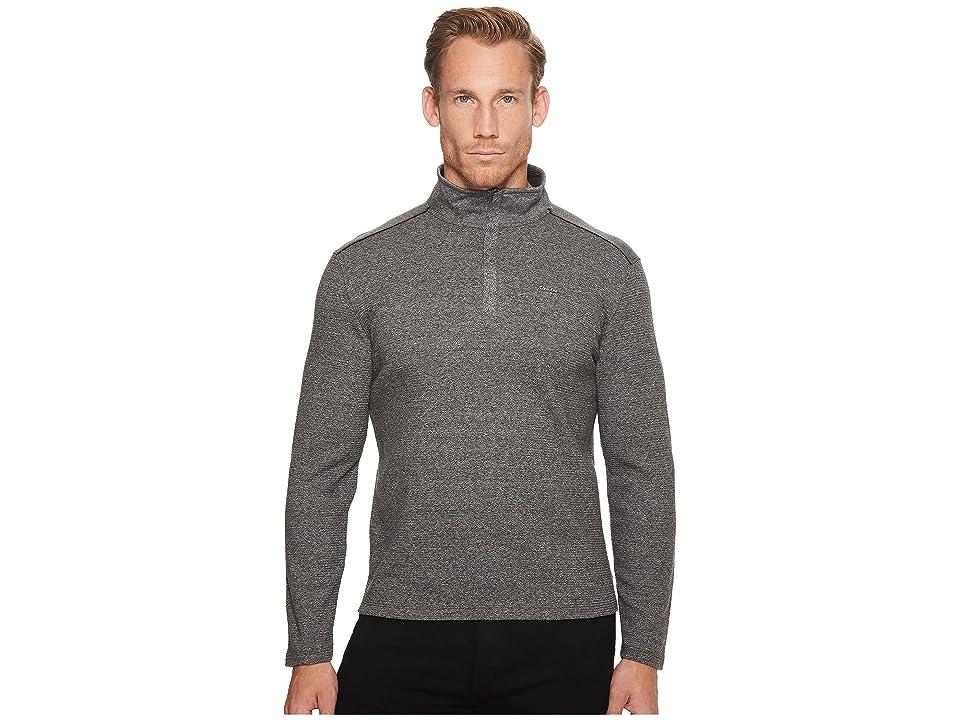 Calvin Klein Jacquard Mock Neck 1/4 Zip Sweater (Marled Black) Men