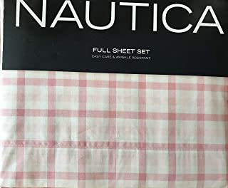 Nautica Easy Care & Wrinkle Resistant 4 Piece Full Sheet Set, Millwood Plaid (Pink)