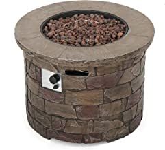 Christopher Knight Home 300712 Stonecrest Outdoor Propane Gas Fire Pit 40000BTU, Brown Stone