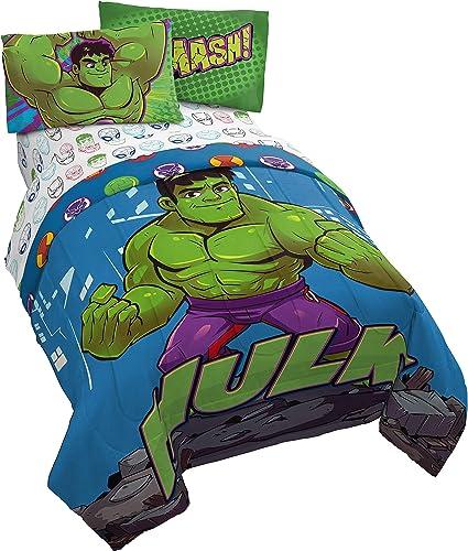 Jay Franco Marvel Super Hero Adventures Hulk Out 4 Piece Twin Bed Set - Includes Reversible Comforter & Sheet Set Bed...