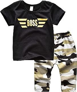 Newborn Baby Boy Clothes Boss Letter Print T-Shirt Camo Long Pants 2PCS Outfits Set