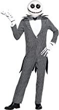 amscan The Nightmare Before Christmas Jack Skellington Pinstripe Halloween Costume for Men, Standard, with Accessories Black, White