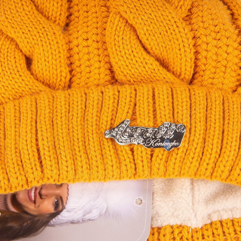 caldo berretto invernale con pompon lavorato a maglia con pelliccia o pompon in pelliccia naturale Avanti Konieczko Berretto invernale da donna con imbottitura in microvlis