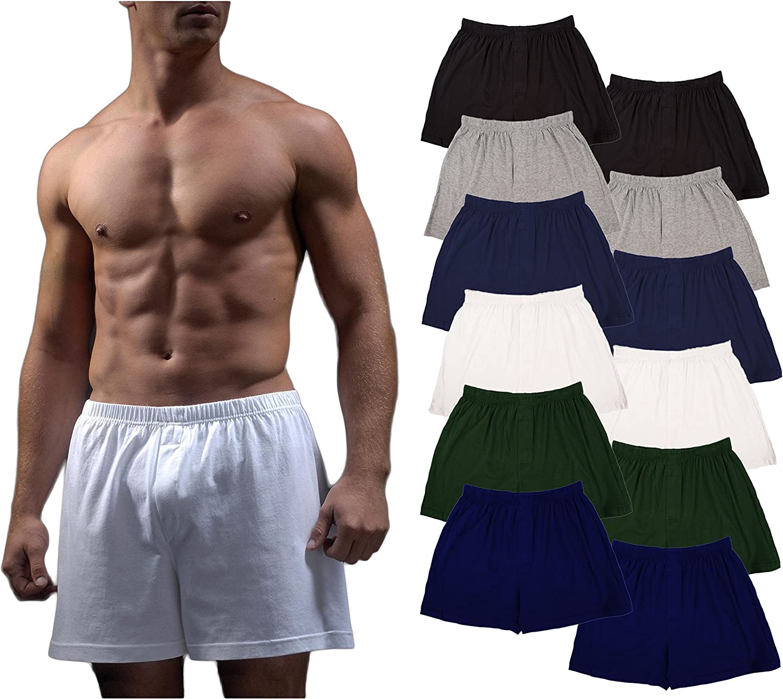 Andrew Scott Men's 12 Pack King Size Big Man Cotton Knit Sleep Boxer Shorts