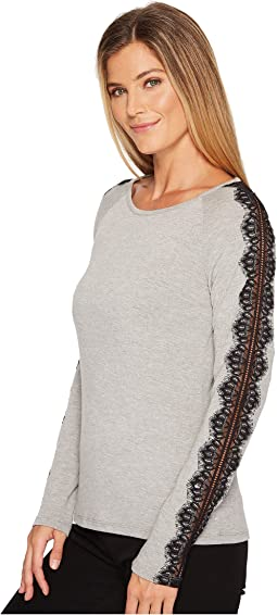 Ivanka Trump - Long Sleeve Pullover Sweater with Lace Trim