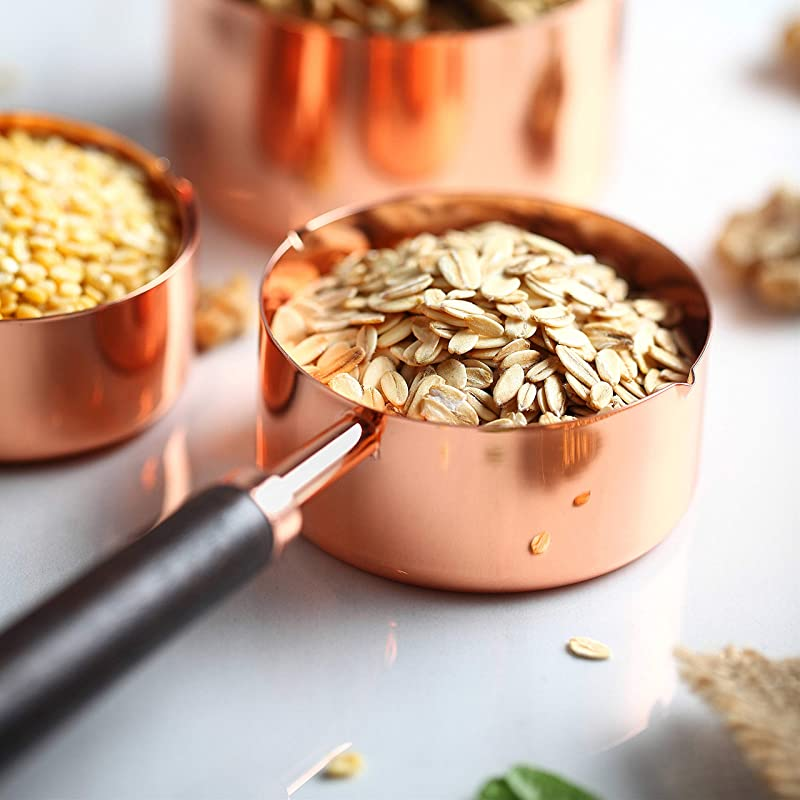 4 Piece Rose Gold Copper Stainless Steel Measuring Scoop With Capacity Scale 250 125 80 60ml Walnut Handle Dry Liquid Ingredients Sugar Salt Tea Sampling Measuring Cups For Kitchen Baking Cooking