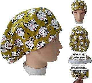 Cappello chirurgico Donna GATTINI per Capelli Lunghi Chirurgia Dentista Veterinario Cucina Asciugamano davanti, vestibilit...