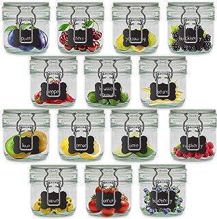 Creative Home Bocaux en Verre Lot | 14 x 200 ML | Hermétique avec Couvercle | Bocal Jar Pot Decoratif | pour Conservation ...