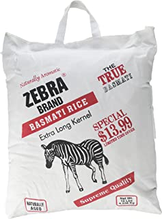Naturally Aromatic Zebra Basmati Rice Extra Long Kernel 10 Lb Bag - NET WT 10 lbs
