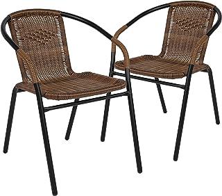 Flash Furniture 2 Pack Medium Brown Rattan Indoor-Outdoor...