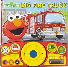 Sesame Street - Elmo's Big Fire Truck Adventure - Sound Book with Interactive Toy Steering Wheel - PI Kids