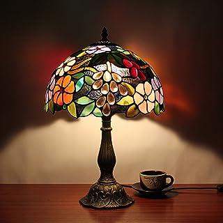 Gweat 12 pouces Vintage Pastoral Gorgeous Fleur Vitrail Style Tiffany Lampe de table lampe de chambre