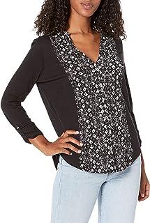 Lucky Brand womens PRINTED BIB BUTTON DOWN TOP Shirt