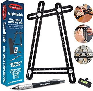 AngleBuddy Metal Template Tool w/Angle Measurement Goniometer | Includes 6-in-1 Multi Tool Pen, Bubble Level, and Carrying Case