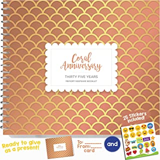 Unique 35th Wedding Anniversary Memory Book with Stickers and A Matching Card - 5-Second Memory Journal for Your Special Coral Anniversary - The Perfect Keepsake Booklet for Special Memories