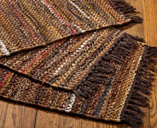 HF by LT Tucson Leather Placemats, 13 x 19 inches, Set of 4, Handwoven Recycled Leather and Soft Cotton, Brown