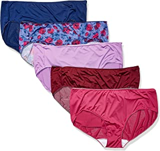 JUST MY SIZE Women's Smooth Stretch Microfiber Hipster Panty 5-Pack, Assorted