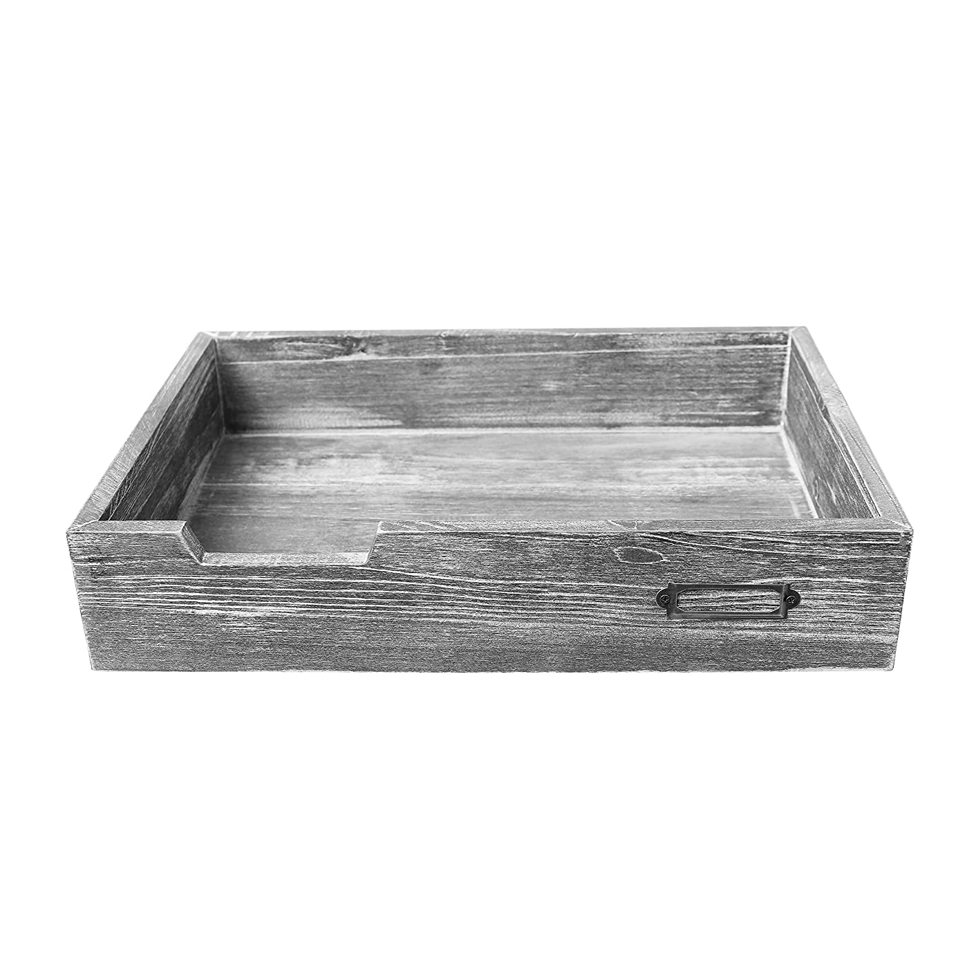 Barnwood Dark Gray Drawer-Style Stackable Wood Document & Literature Tray, Office Supplies Bin