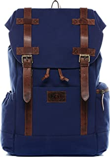 SID & VAIN Rucksack Canvas & Leder Chase groß Laptoprucksack Backpack Tagesrucksack Laptopfach 15.6 Unisex blau