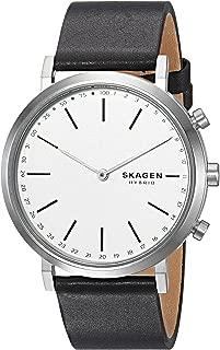 Skagen Connected Women's Hald Stainless Steel and Leather Hybrid Smartwatch, Color: Silver, Black (Model: SKT1205)