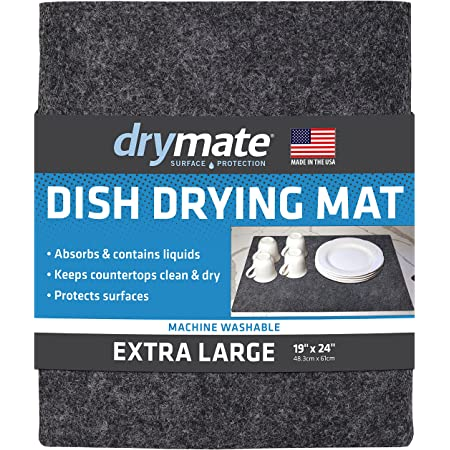 """Drymate Premium Dish Drying Mat, XL Size (19"""" x 24""""), Absorbent Fabric Low-Profile Kitchen Drying Pad – Waterproof – Machine Washable/Durable (Made in the USA) (Charcoal)"""
