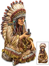 K EXCLUSIVE Native American Chief with Peace Pipe Sculpture – Crafted of Polyresin,..