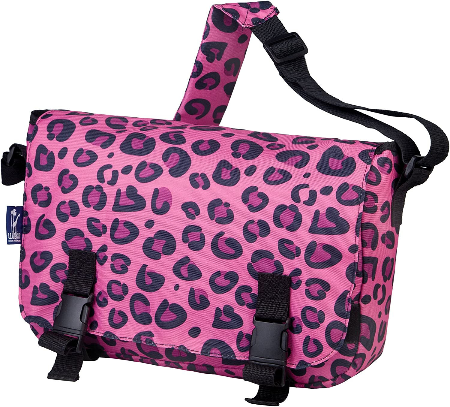 Wildkin Messenger Bag, 15 x 10 Inch Messenger Bag, Includes Interior and Exterior Pockets and Buckled Straps to Close, Ages 8+, Perfect for School, Sports, and Day Trips  Pink Leopard