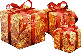 National Tree Set of 3 Assorted Gold Sisal Gift Boxes with Clear Lights (MZGB-ASST-1L-1)