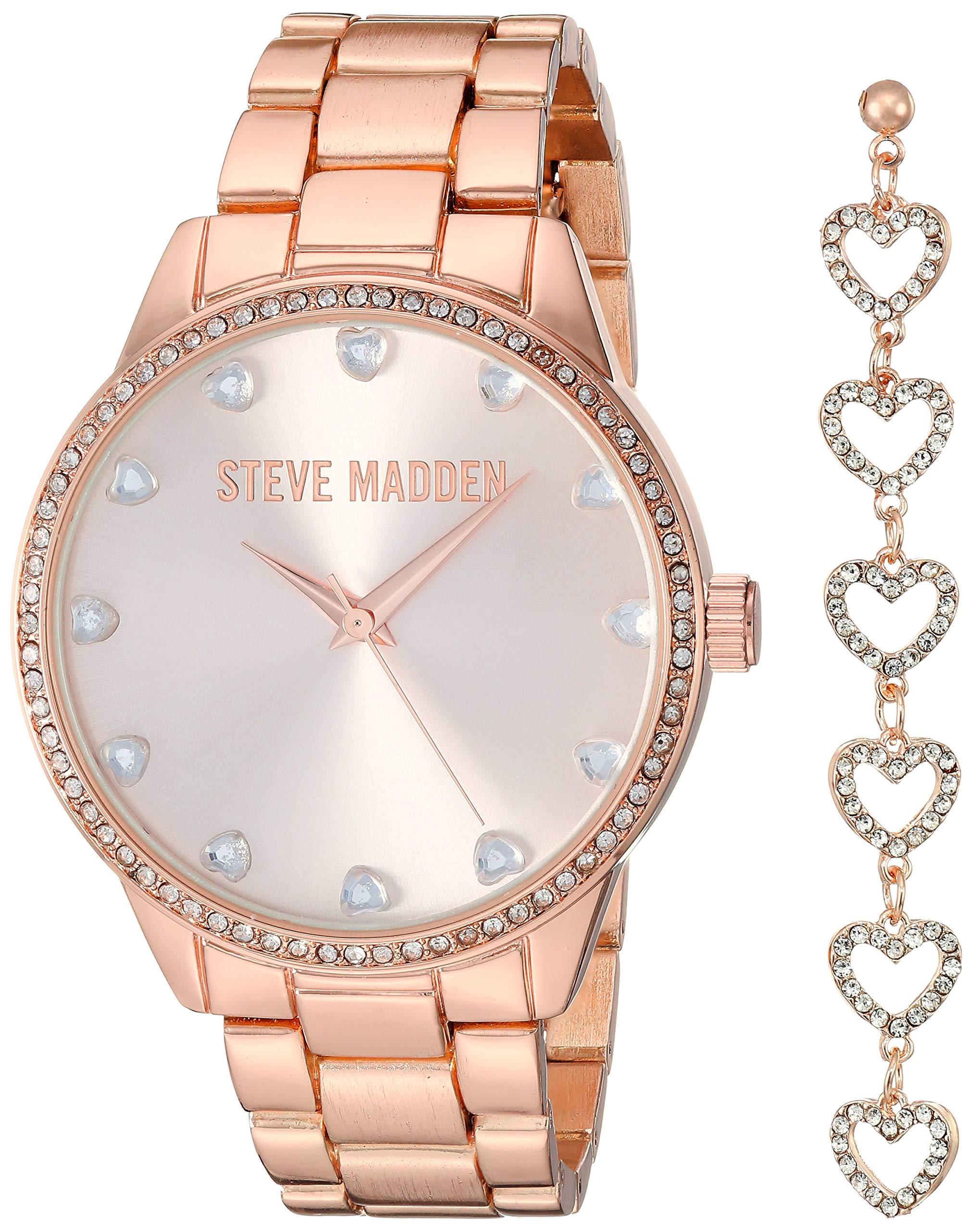 STEVE MADDEN 莱茵石手表心形链耳环套装女式(多种颜色)
