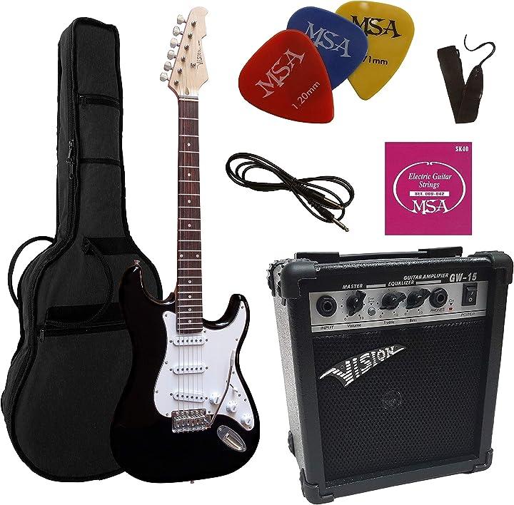 Chitarra elettrica nera, set con amplificatore da 20 watt, borsa, nastro, corde, 3 plettri vision ST5 BK