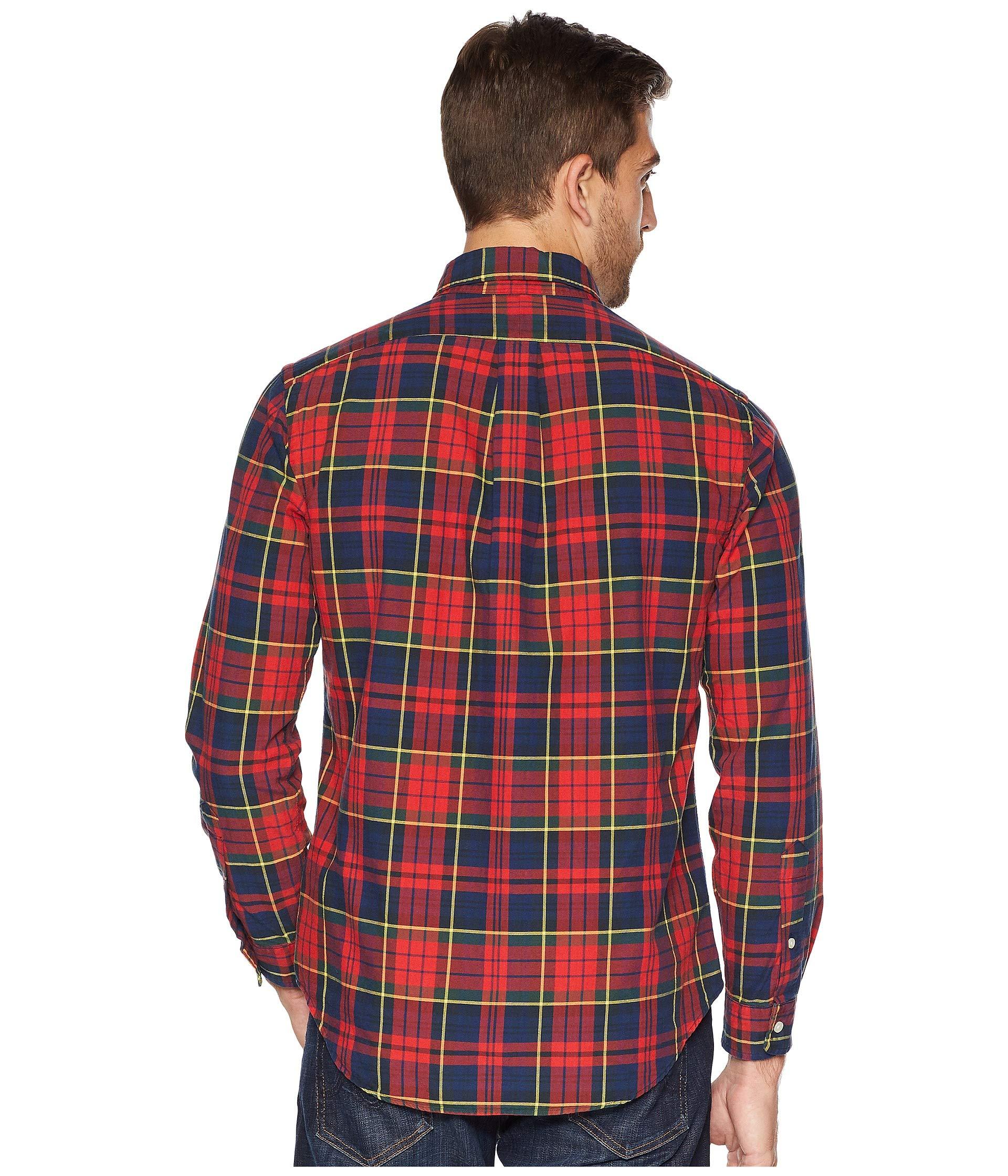 Classic Ralph Tartan canary Oxford Polo Multi Fit Lauren Crimson qO4HAE