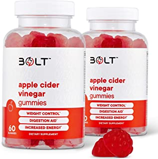 Bolt Apple Cider Vinegar Gummies - Best USDA Organic Certified ACV Gummies - with Raw, Organic ACV with The Mother - 120 G...