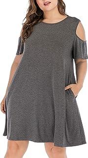HBEYYTO Women Plus Size Dresses Cold Shoulder Short...