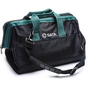 SATA 13-Inch Portable Tool Bag with Waterproof Construction and Multiple Interior and Exterior Pockets, Tool Storage and Organizer - ST95181